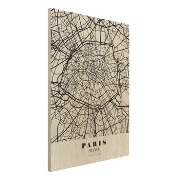 Quadro in legno - Paris City Map - Classic- Verticale 3:4