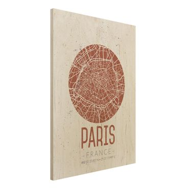 Quadro in legno - Paris City Map - Retro- Verticale 3:4
