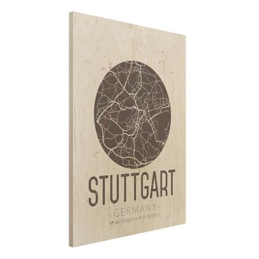 Quadro in legno - Stuttgart City Map - Retro- Verticale 3:4