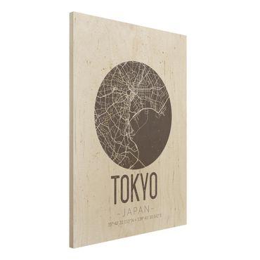 Quadro in legno - Tokyo City Map - Retro- Verticale 3:4