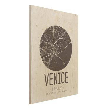 Quadro in legno - Venice City Map - Retro- Verticale 3:4