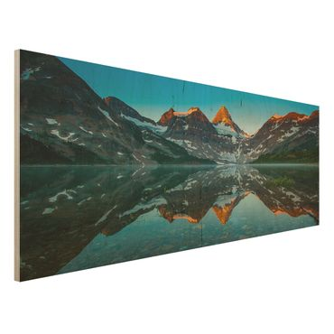 Quadro in legno - Mountain landscape at Lake Magog in Canada - Panoramico