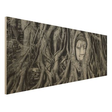 Quadro in legno - Buddha in Ayutthaya lined by tree roots in black-and-white - Panoramico
