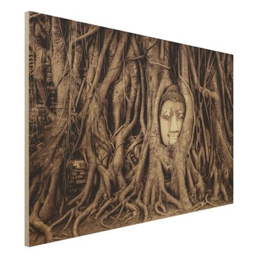 Quadro in legno - Buddha in Ayutthaya lined by tree roots in black-and-white - Orizzontale 3:2
