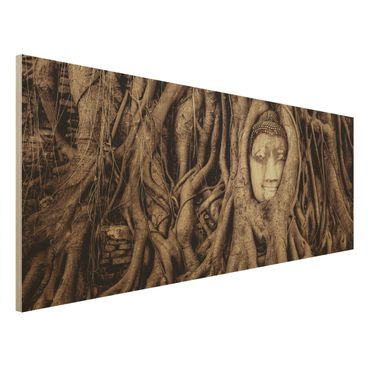 Quadro in legno - Buddha in Ayutthaya lined by tree roots in brown - Panoramico