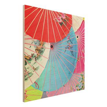 Quadro in legno - Chinese Parasols - Quadrato 1:1