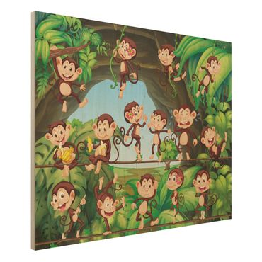 Quadro in legno - Jungle Monkeys - Orizzontale 4:3
