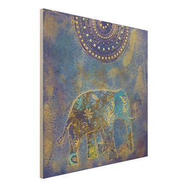 Quadro in legno - Elephant in Marrakech - Quadrato 1:1