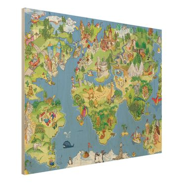Quadro in legno - Great and funny Worldmap - Orizzontale 4:3