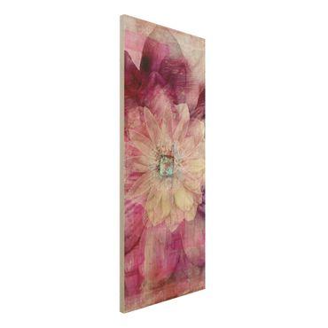 Quadro in legno - Grunge Flower - Pannello