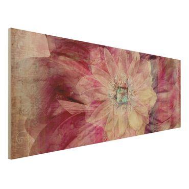 Quadro in legno - Grunge Flower - Panoramico