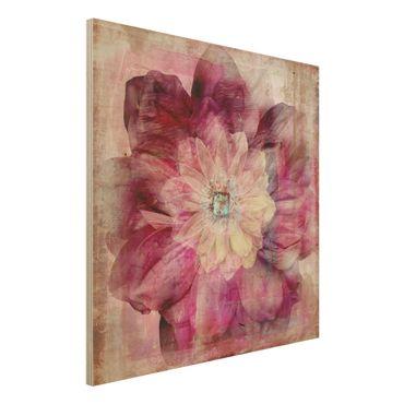 Quadro in legno - Grunge Flower - Quadrato 1:1