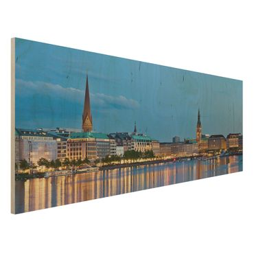 Quadro in legno - Hamburg Skyline - Panoramico