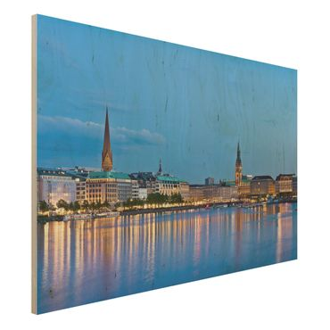 Quadro in legno - Hamburg skyline - Orizzontale 3:2
