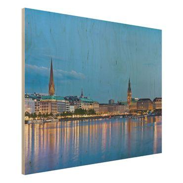 Quadro in legno - Hamburg skyline - Orizzontale 4:3