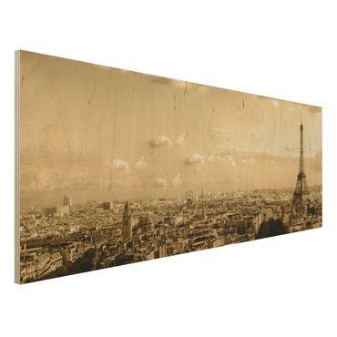 Quadro in legno - I Love Paris - Panoramico