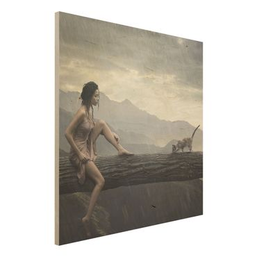Quadro in legno - Jane in the Rain - Quadrato 1:1