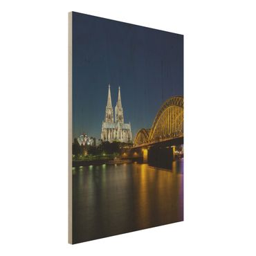 Quadro in legno - Cologne at night - Verticale 3:4