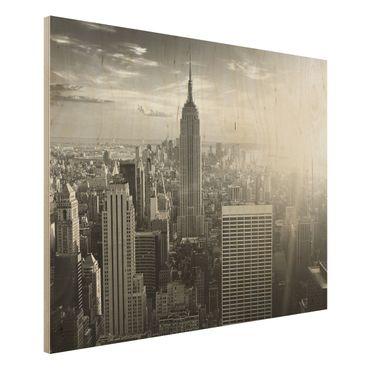 Quadro in legno - Manhattan Skyline - Orizzontale 4:3