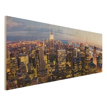 Quadro in legno - New York skyline at night - Panoramico
