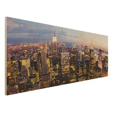 Quadro in legno - New York skyline at night - Panoramico