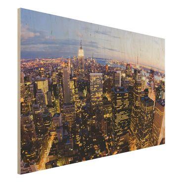 Quadro in legno - New York skyline at night - Orizzontale 3:2