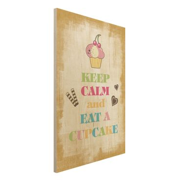 Quadro in legno - No.EV71 Keep Calm And Eat A Cupcake Colourful - Verticale 2:3