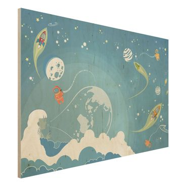 Quadro in legno - No.MW16 Colourful Space bustle - Orizzontale 3:2