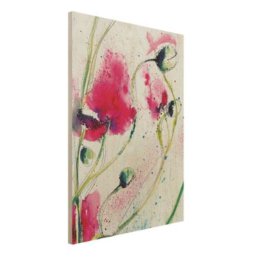 Quadro in legno - Painted Poppies - Verticale 3:4