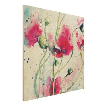 Quadro in legno - Painted Poppies - Quadrato 1:1