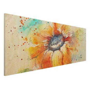Quadro in legno - Painted Sunflower - Panoramico