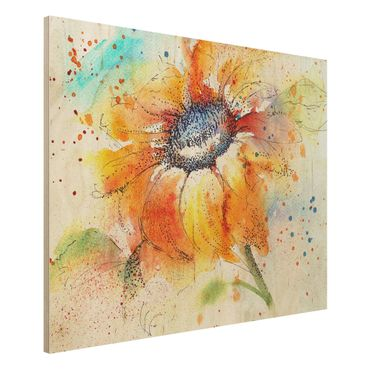 Quadro in legno - Painted Sunflower - Orizzontale 4:3