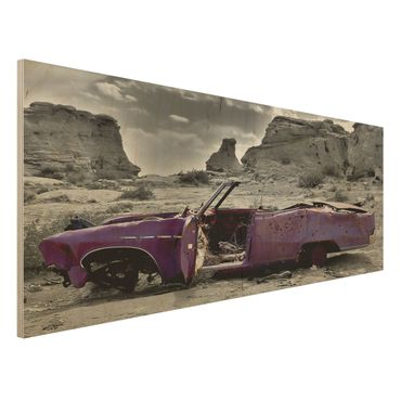 Quadro in legno - Pink Cadillac - Panoramico