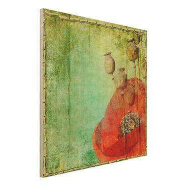 Quadro in legno - Poppy Stalks - Quadrato 1:1