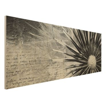 Quadro in legno - Dandelion Black & White Room - Panoramico