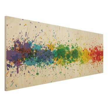 Quadro in legno - Rainbow Splatter - Panoramico