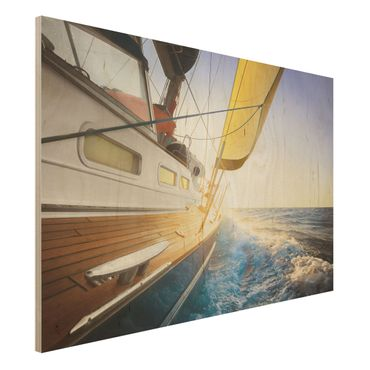 Quadro in legno - Sailboat on blue sea at sunshine - Orizzontale 3:2