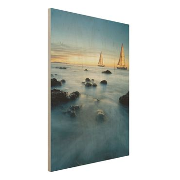 Quadro in legno - Sailboats in the ocean - Verticale 3:4