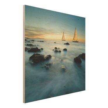 Quadro in legno - Sailboats in the Ocean - Quadrato 1:1