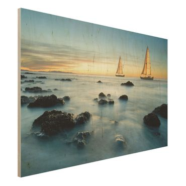 Quadro in legno - Sailboats in the ocean - Orizzontale 3:2
