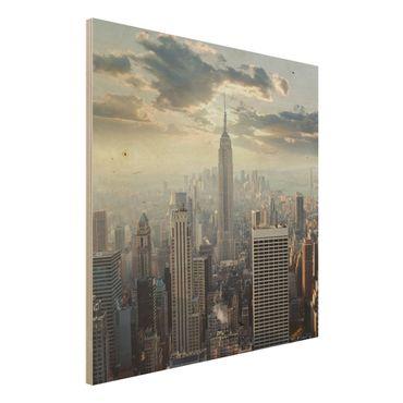 Quadro in legno - Sunrise in New York - Quadrato 1:1