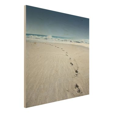 Quadro in legno - Footprints in the Sand - Quadrato 1:1