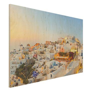 Quadro in legno - Shining Santorini - Orizzontale 3:2