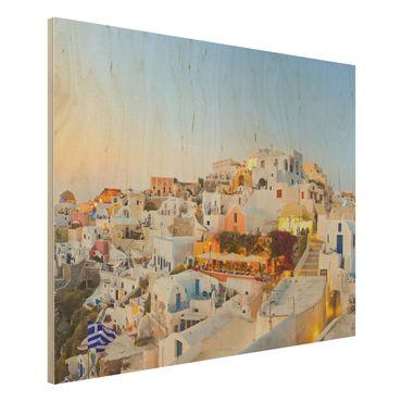 Quadro in legno - Shining Santorini - Orizzontale 4:3