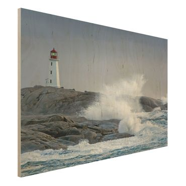 Quadro in legno - Storm Waves At The Lighthouse - Orizzontale 3:2
