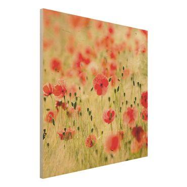 Quadro in legno - Summer Poppies - Quadrato 1:1