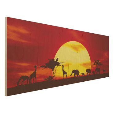 Quadro in legno - Sunset Caravan - Panoramico