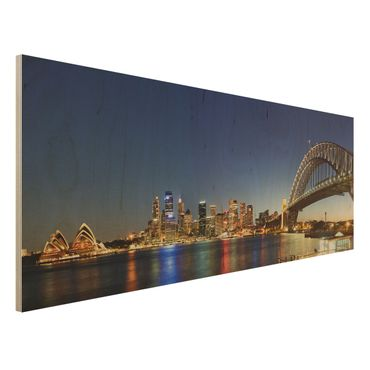 Quadro in legno - Sydney at Night - Panoramico