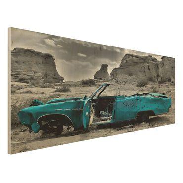 Quadro in legno - Turqouise Cadillac - Panoramico