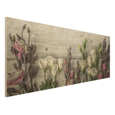 Quadro in legno - Tulip Pink Shabby wood optic - Panoramico